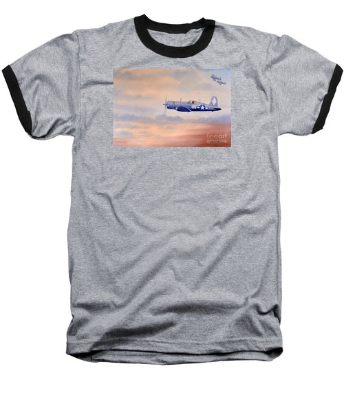 Baseball T-Shirt featuring the painting Vought F4u-1d Corsair Aircraft by Bill Holkham