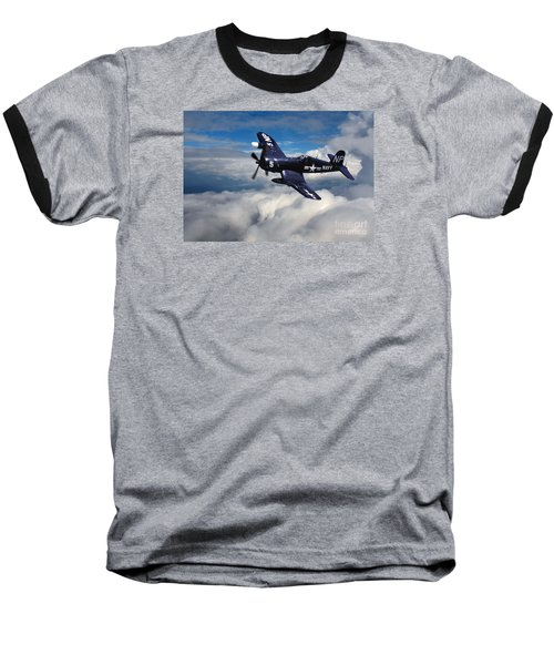 Vought F4u Corsair In Flight Baseball T-Shirt