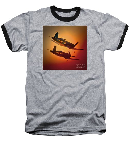 Vought F4u Corsair Sunset Two Ship Baseball T-Shirt