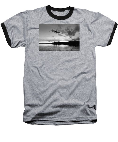 Baseball T-Shirt featuring the digital art Vulcan Low Over A Sunset Lake Sunset Lake Bw by Gary Eason