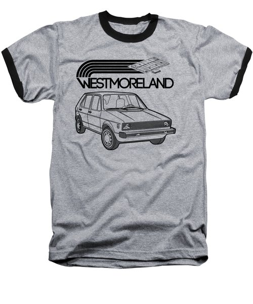 Vw Rabbit - Westmoreland Theme - Black Baseball T-Shirt by Ed Jackson