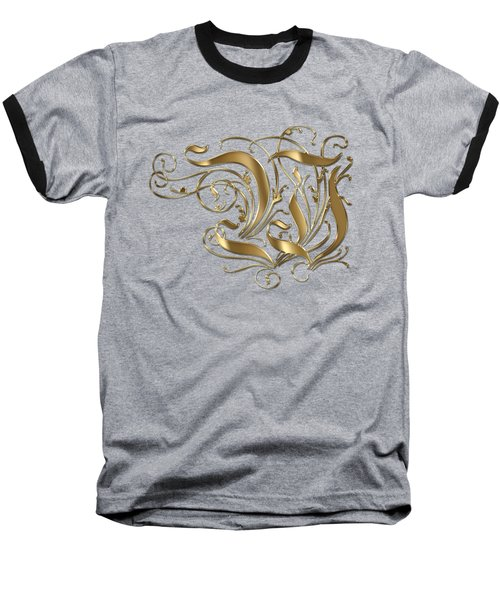 W Golden Ornamental Letter Typography Baseball T-Shirt