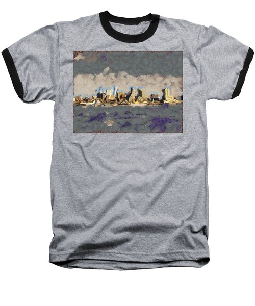Baseball T-Shirt featuring the mixed media Wacky Philly Skyline by Trish Tritz