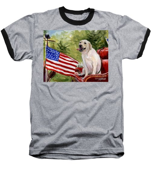 Baseball T-Shirt featuring the painting Wag The Flag by Molly Poole