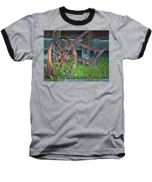 Baseball T-Shirt featuring the photograph Wagon Wheel And Fence by David and Carol Kelly