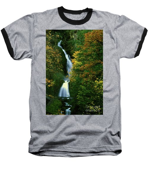 Wahkeena Falls Waterfall Baseball T-Shirt
