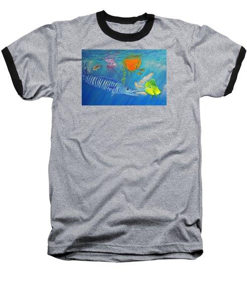 Wahoo Dolphin Painting Baseball T-Shirt