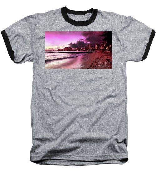 Baseball T-Shirt featuring the photograph Waikiki Twilight by Kristine Merc