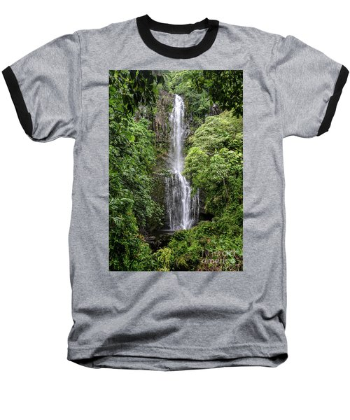 Wailua Falls On The Road To Hana, Maui, Hawaii Baseball T-Shirt by Peter Dang