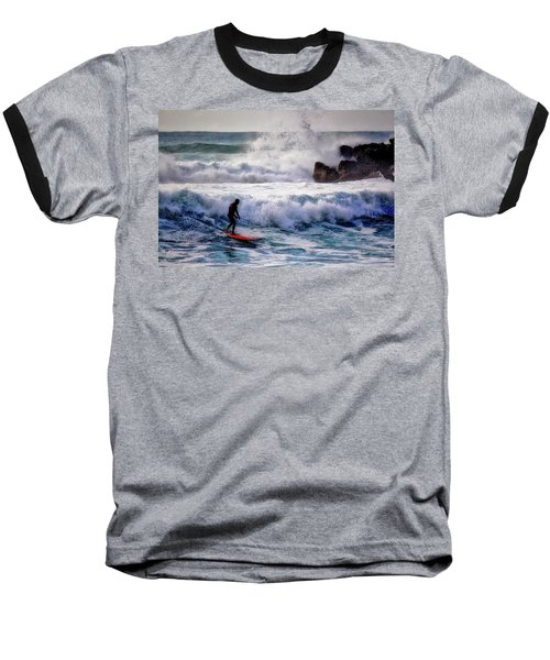Baseball T-Shirt featuring the photograph Waimea Bay Surfer by Jim Albritton