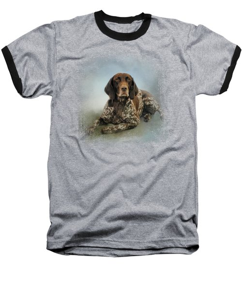 Waiting For A Cue - German Shorthaired Pointer Baseball T-Shirt by Jai Johnson