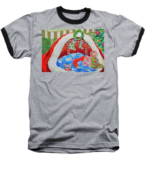 Baseball T-Shirt featuring the painting Waiting For Santa by Li Newton