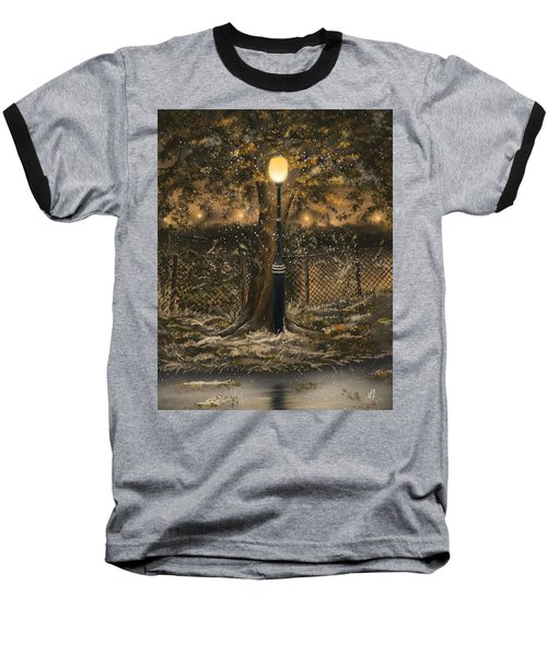 Baseball T-Shirt featuring the painting Waiting For The Snow by Veronica Minozzi