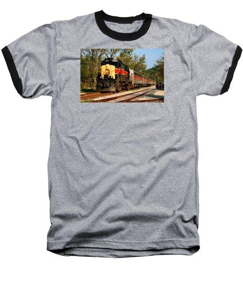 Waiting For The Train Baseball T-Shirt by Kristin Elmquist