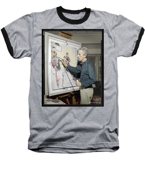Baseball T-Shirt featuring the photograph Waiting For The Vet Norman Rockwell by Martin Konopacki Restoration
