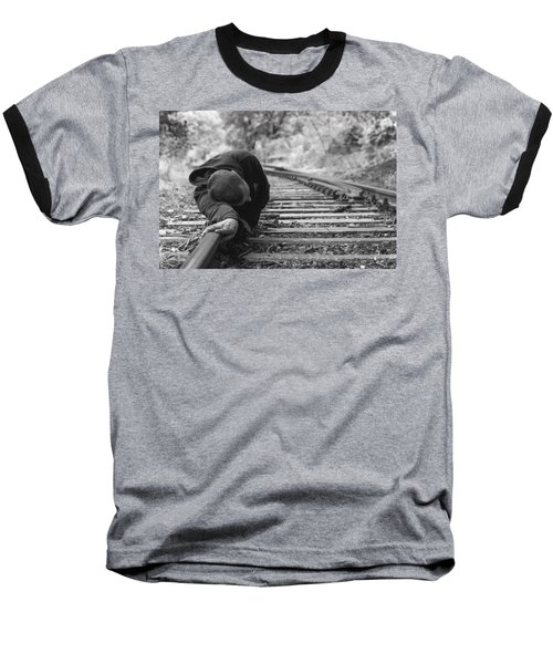 Waiting On The Rails Baseball T-Shirt