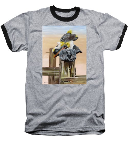 Baseball T-Shirt featuring the painting Waiting On The Tide by Phyllis Beiser