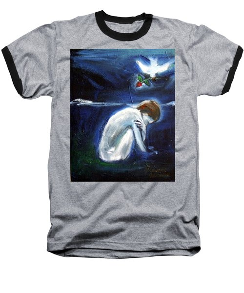 Baseball T-Shirt featuring the painting Waiting by Winsome Gunning