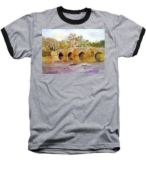 Wales Dipping Bridge Baseball T-Shirt by Larry Hamilton