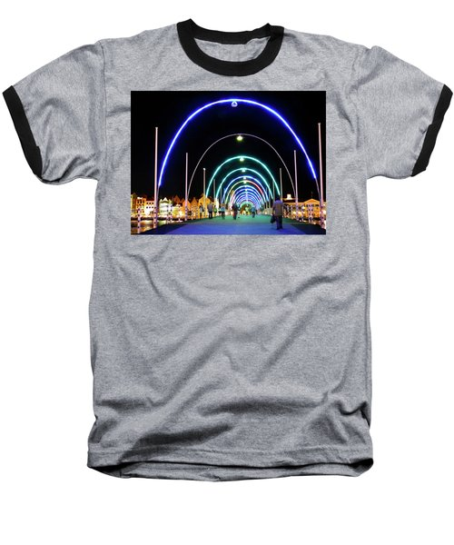 Baseball T-Shirt featuring the photograph Walk Along The Floating Bridge, Willemstad, Curacao by Kurt Van Wagner