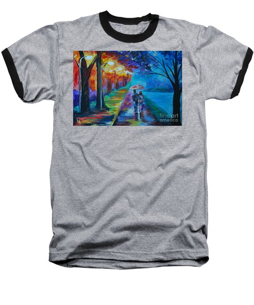 Baseball T-Shirt featuring the painting Walk By The Lake  by Leslie Allen
