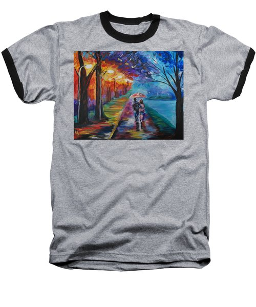 Baseball T-Shirt featuring the painting Walk By The Lake Series 1 by Leslie Allen