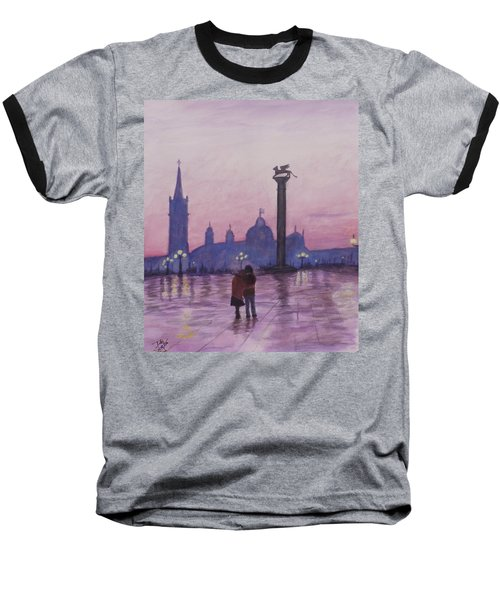 Baseball T-Shirt featuring the painting Walk In Italy In The Rain by Dan Wagner