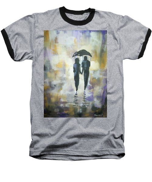 Baseball T-Shirt featuring the painting Walk In The Rain #3 by Raymond Doward