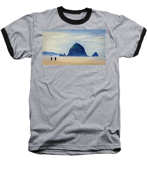 Baseball T-Shirt featuring the painting Walk On The Beach by Jeff Kolker