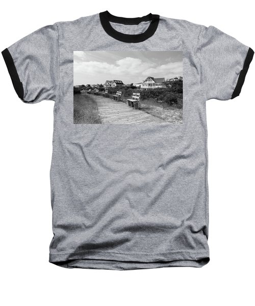 Walk Through The Dunes In Black And White Baseball T-Shirt