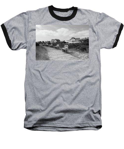 Walk Through The Dunes In Black And White Baseball T-Shirt