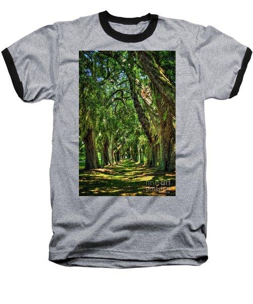 Baseball T-Shirt featuring the photograph Walk With Me Avenue Of Oaks St Simons Island Art by Reid Callaway
