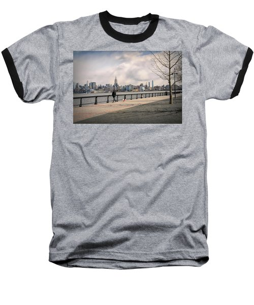 Walking Along Hoboken's Hudson River Waterfront Walkway Baseball T-Shirt
