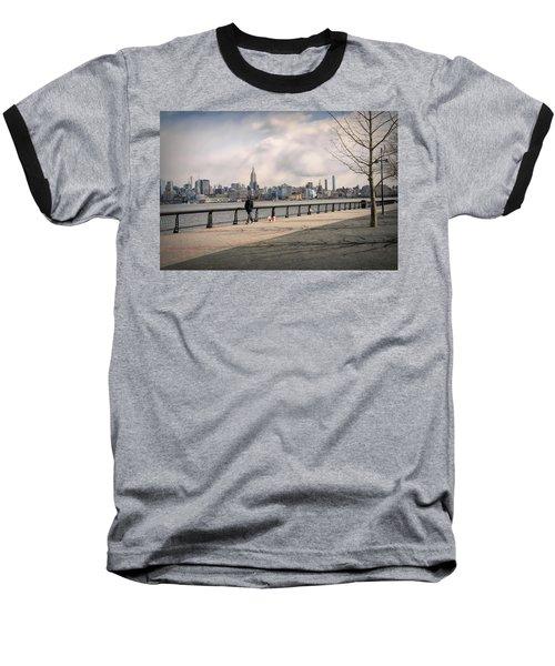 Walking Along Hoboken's Hudson River Waterfront Walkway Baseball T-Shirt