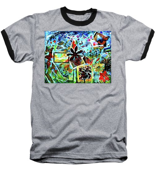 Baseball T-Shirt featuring the mixed media Walking Amongst The Monarchs by Genevieve Esson