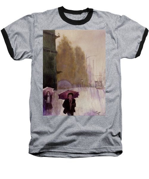 Baseball T-Shirt featuring the painting Walking In The Rain by Dan Wagner