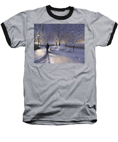 Baseball T-Shirt featuring the painting Walking In The Snow by Veronica Minozzi