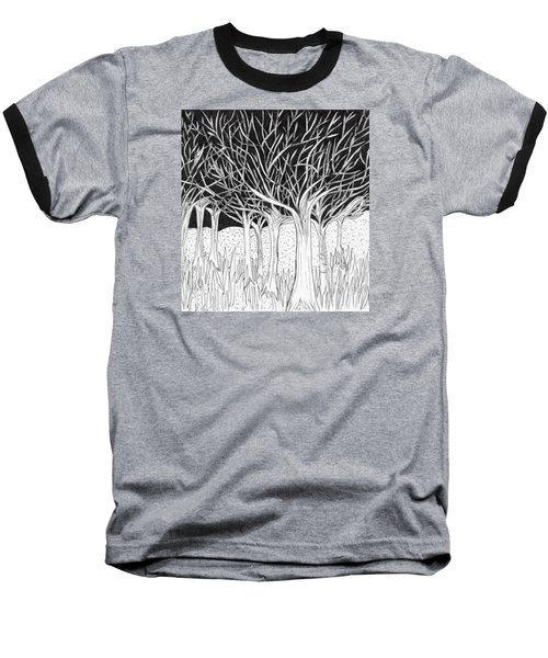 Walking Out Of The Woods Baseball T-Shirt by Lou Belcher
