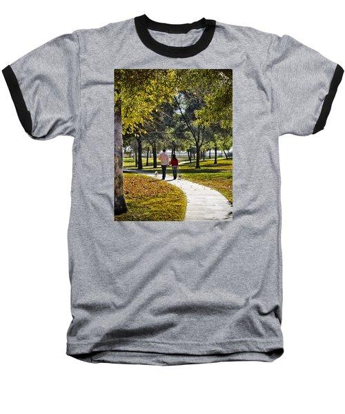 Walking Park Baseball T-Shirt by John Swartz