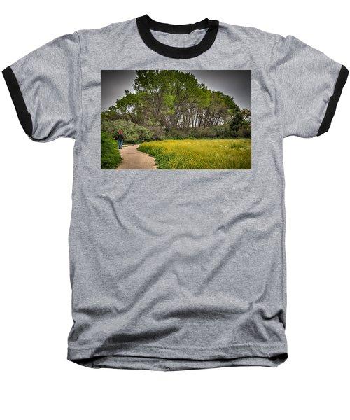 Walking Path In Tall Oak Trees In Spring Baseball T-Shirt
