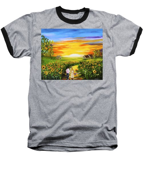 Walking Through The Sunflowers Baseball T-Shirt