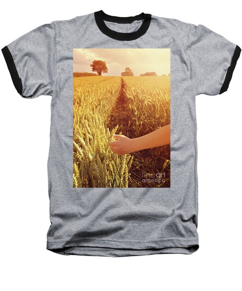 Baseball T-Shirt featuring the photograph Walking Through Wheat Field by Lyn Randle
