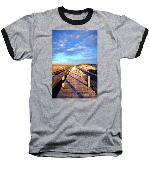 Baseball T-Shirt featuring the digital art Walkway On Pine Painted by Linda Olsen