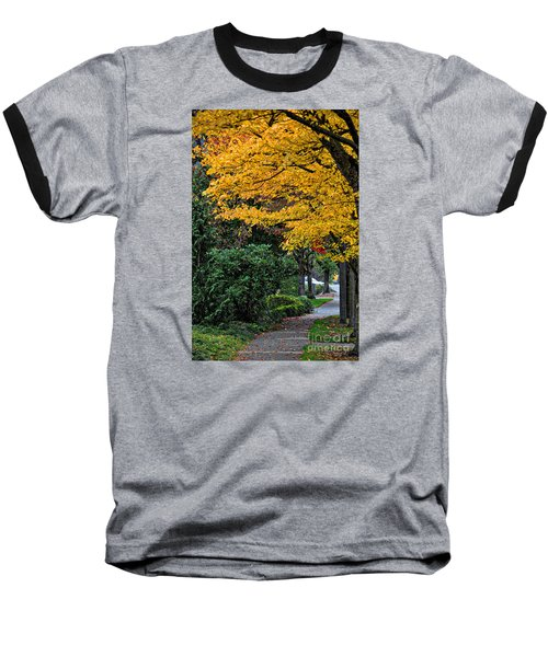 Baseball T-Shirt featuring the photograph Walkway Under A Canopy Of Yellow by Kirt Tisdale