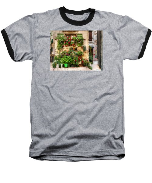 Wall Of Flowers Baseball T-Shirt by Uri Baruch