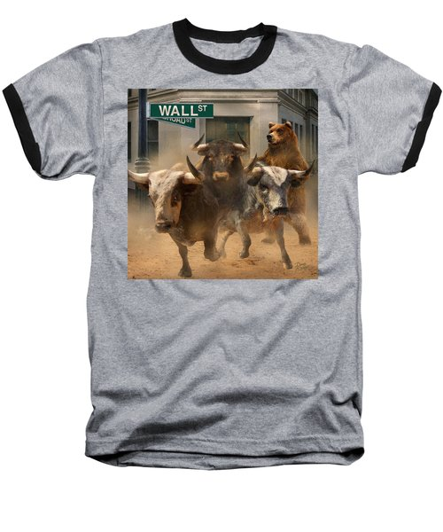 Wall Street -- Bull And Bear Markets Baseball T-Shirt