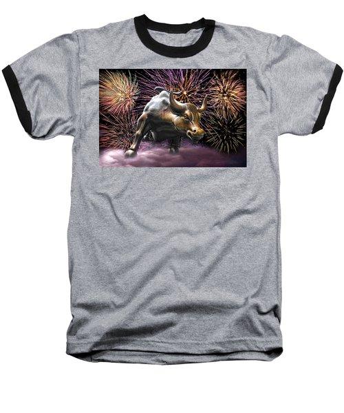 Wall Street Bull Fireworks Baseball T-Shirt