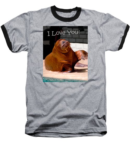 Walrus Loves You Baseball T-Shirt by Bob Pardue