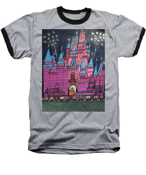 Baseball T-Shirt featuring the painting Walt Disney World Cinderrela Castle by Jonathon Hansen