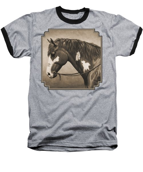 War Horse Aged Photo Fx Baseball T-Shirt by Crista Forest
